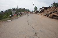 Cracks in the road near at Jalkeli village, outskirts of Kathmandu, Nepal. May 1, 2015