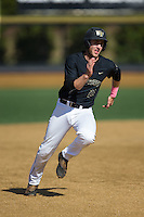 Johnny Aiello (2) of the Wake Forest Demon Deacons hustles towards third base during the game against the Florida State Seminoles at David F. Couch Ballpark on April 16, 2016 in Winston-Salem, North Carolina.  The Seminoles defeated the Demon Deacons 13-8.  (Brian Westerholt/Four Seam Images)