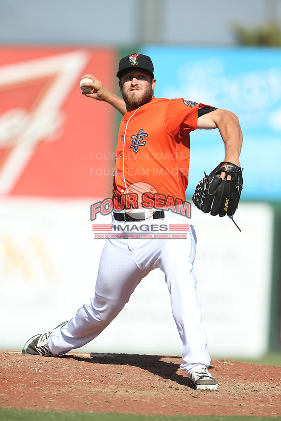 Austin Adams (19) of the Inland Empire 66ers pitches during a game against the Stockton Ports at The Hanger on April 11, 2015 in Lancaster, California. San Jose defeated Lancaster, 8-3. (Larry Goren/Four Seam Images)