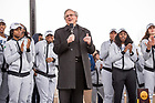 April 2, 2018; University president John I. Jenkins, C.S.C., congratulates the Notre Dame women's basketball team during a welcome home event following their win in the NCAA National Championship. (Photo by Barbara Johnston/University of Notre Dame)