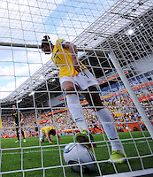 Aline of team Brazil takes the ball out of the net during the FIFA Women's World Cup at the FIFA Stadium in Dresden, Germany on July 10th, 2011.