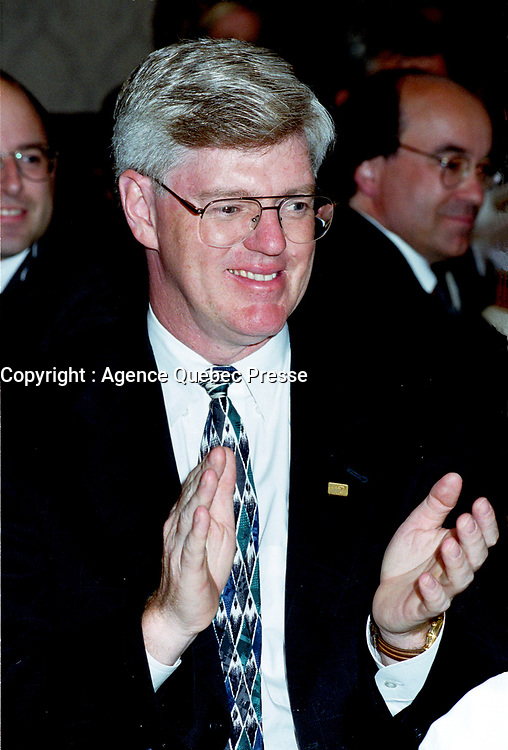 1999 File Photo<br /> <br />   Montreal, June 22nd, 1999 File Photo of<br /> Canadian Minister of Industry ;  the Honorable John Manley, during a private event in Montreal (Quebec, Canada)<br /> Photo by Pierre Roussel,IMAGES DISTRIBUTION