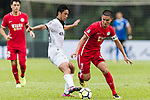 Wai Wong (R) of Wofoo Tai Po fights for the ball with Kwok Wai Leung (L) of Dreams FC during the Dreams FC vs Wofoo Tai Po match of the week one Premier League match at the Aberdeen Sports Ground on 26 August 2017 in Hong Kong, China. Photo by Yu Chun Christopher Wong / Power Sport Images