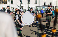 Members of the Skye Youth Pipe Band at a concert at the Main square in Portree, Scotland on 2015/06/10. Foto EXPA/ JFK/Insidefoto