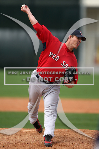 March 18, 2010:  Pitcher Jeremy Kehrt of the Boston Red Sox organization during Spring Training at Ft.  Myers Training Complex in Fort Myers, FL.  Photo By Mike Janes/Four Seam Images