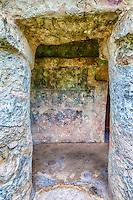 Tulum, Mayan Ruins, Remnants of Mayan Paintings.  Playa del Carmen, Riviera Maya, Yucatan, Mexico.