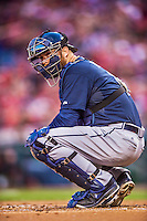 5 April 2014: Atlanta Braves catcher Ryan Doumit glances back to the dugout during a game against the Washington Nationals at Nationals Park in Washington, DC. The Braves defeated the Nationals 6-2 to take the second game of their 3-game series. Mandatory Credit: Ed Wolfstein Photo *** RAW (NEF) Image File Available ***