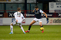 29th December 2020; Dens Park, Dundee, Scotland; Scottish Championship Football, Dundee FC versus Alloa Athletic; Osman Sow of Dundee takes on Blair Malcolm of Alloa Athletic
