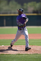 Colorado Rockies relief pitcher Jefry Valdez (85) during a Minor League Spring Training game against the Los Angeles Angels at Tempe Diablo Stadium Complex on March 18, 2018 in Tempe, Arizona. (Zachary Lucy/Four Seam Images)