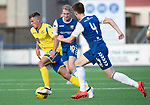 Montrose v St Johnstone….16.07.19      Links Park     Betfred Cup       <br />Callum Hendry gets between Matty Allan and Russell McLean<br />Picture by Graeme Hart. <br />Copyright Perthshire Picture Agency<br />Tel: 01738 623350  Mobile: 07990 594431