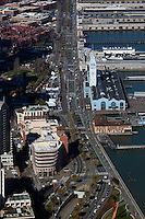 aerial photograph the Embarcadero during Superbowl 50, San Francisco, California