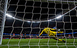 Goalkeeper Thibaut Courtois of Chelsea FC tries to save the shot by Antoine Griezmann of Atletico de Madrid during the UEFA Champions League 2017-18 match between Atletico de Madrid and Chelsea FC at the Wanda Metropolitano on 27 September 2017, in Madrid, Spain. Photo by Diego Gonzalez / Power Sport Images
