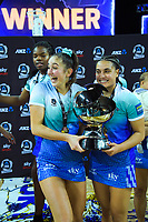 Mystics' Kate Burley and Fa'amu Ioane after the ANZ Premiership netball final between Northern Mystics and Mainland Tactix at Spark Arena in Auckland, New Zealand on Sunday, 8 August 2021. Photo: Dave Lintott / lintottphoto.co.nz