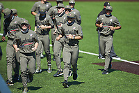 Vanderbilt Commodores pitcher Jack Leiter (22) jogs off the field after stretching with his teammates between innings of the game against the South Carolina Gamecocks at Hawkins Field on March 21, 2021 in Nashville, Tennessee. (Brian Westerholt/Four Seam Images)