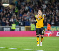 22nd September 2021; Molineux Stadium, Wolverhampton,  West Midlands, England; EFL Cup football, Wolverhampton Wanderers versus Tottenham Hotspur; Ruben Neves of Wolverhampton Wanderers with his hands on his head after missing the goal during the penalty shoot out