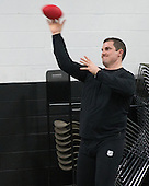 The officials warmed up prior to the Frozen Four final at TD Garden on Saturday, April 11, 2015, in Boston, Massachusetts.