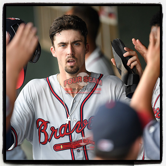 #OTD On This Day, June 30, 2019, shortstop Braden Shewmake (39) of the Rome Braves, an Atlanta Braves' First-Round pick in the 2019 MLB Draft, was greeted in the dugout after scoring a run in a game against the Greenville Drive at Fluor Field at the West End in Greenville, South Carolina. This week he was added to the Braves' 60-man player pool for the 2020 season. (Tom Priddy/Four Seam Images) #MiLB #OnThisDay #MissingBaseball #nobaseball #stayathome #minorleagues #minorleaguebaseball #Baseball #SallyLeague #AloneTogether