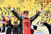 NASCAR XFINITY Series<br /> Kansas Lottery 300<br /> Kansas Speedway, Kansas City, KS USA<br /> Saturday 21 October 2017<br /> Christopher Bell, JBL Toyota Camry celebrates in victory lane <br /> World Copyright: John Harrelson<br /> LAT Images