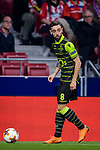 Bruno Fernandes of Sporting CP in action during the UEFA Europa League quarter final leg one match between Atletico Madrid and Sporting CP at Wanda Metropolitano on April 5, 2018 in Madrid, Spain. Photo by Diego Souto / Power Sport Images