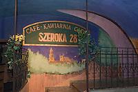 "Europe/Pologne/Lublin: Auberge ""Kawiarna Szeroska 28 "" ul Grodzka 21 mur peint représenatant la vieille ville de Lublin"