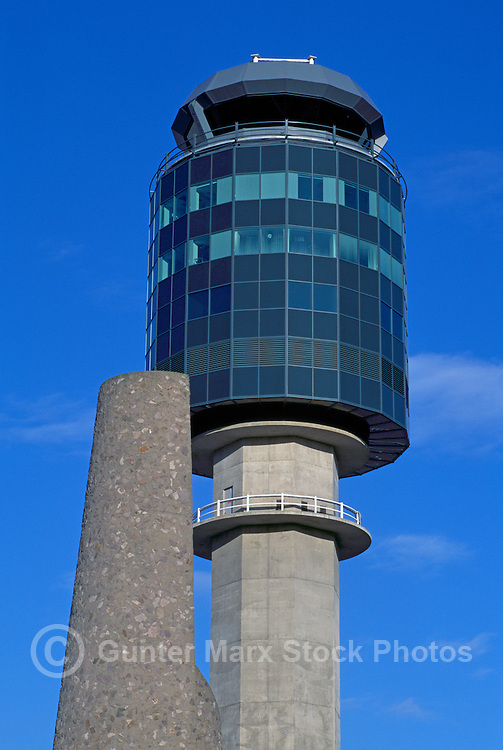 Air Traffic Control Tower at YVR Vancouver International Airport, Richmond, BC, British Columbia, Canada
