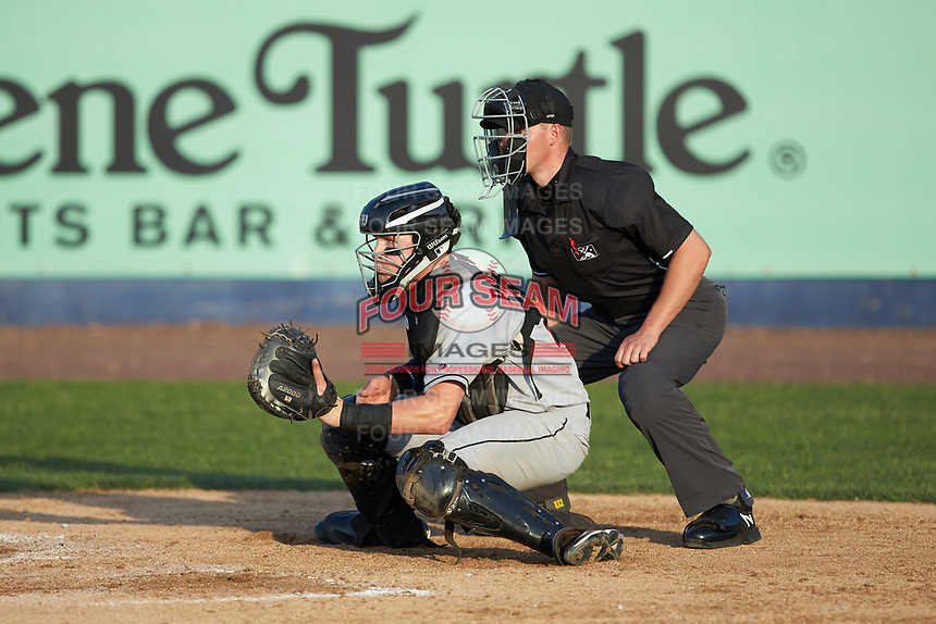 Fayetteville Woodpeckers catcher Michael Papierski (28) sets a target as home plate umpire Steven Jaschinski looks on during the Carolina League game against the Wilmington Blue Rocks at Frawley Stadium on June 6, 2019 in Wilmington, Delaware. The Woodpeckers defeated the Blue Rocks 8-1. (Brian Westerholt/Four Seam Images)