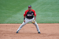 World Team third baseman Rafael Devers (13) during the MLB All-Star Futures Game on July 12, 2015 at Great American Ball Park in Cincinnati, Ohio.  (Mike Janes/Four Seam Images)