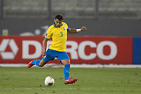 13th October 2020; National Stadium of Peru, Lima, Peru; FIFA World Cup 2022 qualifying; Peru versus Brazil;  Thiago Silva of Brazil lines up a shot on goal