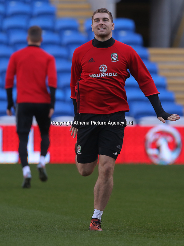 Sam Vokes in action during the Wales Press Conference and Training Session at The Cardiff City Stadium, Wales, UK. Monday 13 November 2017