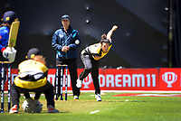 Thamsyn Newton bowls during the women's Dream11 Super Smash cricket match between the Wellington Blaze and Auckland Hearts at Basin Reserve in Wellington, New Zealand on Thursday , 24 December 2020. Photo: Dave Lintott / lintottphoto.co.nz