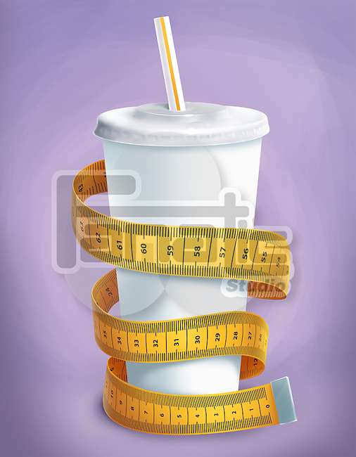 Illustrative image of an apple wrapped with measuring tape representing dieting