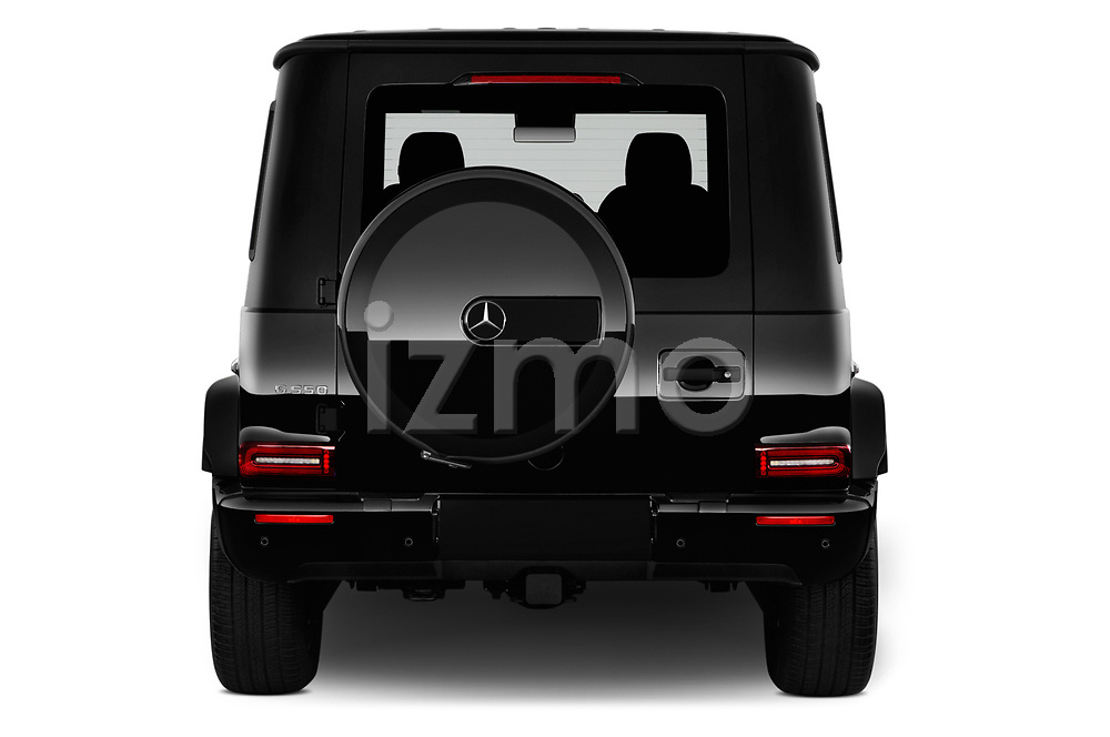 Straight rear view of 2019 Mercedes Benz G-Class G-550 5 Door SUV Rear View  stock images