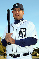 Feb 21, 2009; Lakeland, FL, USA; The Detroit Tigers catcher Dane Sardinha (61) during photoday at Tigertown. Mandatory Credit: Tomasso De Rosa/ Four Seam Images