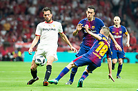 Sevilla FC Franco Damian and FC Barcelona Jordi Alba and Sergio Busquets during King's Cup Finals match between Sevilla FC and FC Barcelona at Wanda Metropolitano in Madrid, Spain. April 21, 2018. (ALTERPHOTOS/Borja B.Hojas)