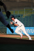 Brendan Rodgers (1) of the Lancaster JetHawks attempts to steal a base during a game against the San Jose Giants at The Hanger on May 5, 2017 in Lancaster, California. San Jose defeated Lancaster, 4-2. (Larry Goren/Four Seam Images)