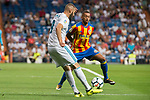 Real Madrid's Karim Benzema and Valencia's Ruben Vezo during La Liga match between Real Madrid and Valencia CF at Santiago Bernabeu Stadium in Madrid, Spain August 27, 2017. (ALTERPHOTOS/Borja B.Hojas)