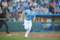 Omaha Storm Chasers Kyle Isbel (3) jogs to first base after hitting a home run during a game against the Iowa Cubs on August 14, 2021 at Werner Park in Omaha, Nebraska. (Zachary Lucy/Four Seam Images)