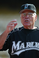 Florida Marlins Manager Jack McKeon during a 2003 season MLB game at Dodger Stadium in Los Angeles, California. (Larry Goren/Four Seam Images)