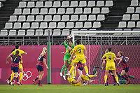 KASHIMA, JAPAN - AUGUST 5: Adrianna Franch #18 of the United States during a game between Australia and USWNT at Kashima Soccer Stadium on August 5, 2021 in Kashima, Japan.
