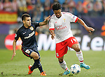 Atletico de Madrid's Angel Correa (l) and SL Benfica's Eliseu during Champions League 2015/2016 match. September 30,2015. (ALTERPHOTOS/Acero)