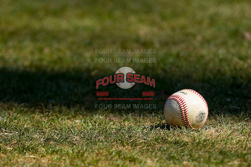 A Southern Conference baseball sits in the grass prior to the game between the College of Charleston Cougars and the Davidson Wildcats at Wilson Field on March 12, 2011 in Davidson, North Carolina.  The Wildcats defeated the Cougars 8-3.  Photo by Brian Westerholt / Four Seam Images