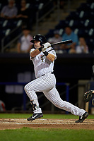 Staten Island Yankees Mitchell Robinson (14) bats during a NY-Penn League game against the Aberdeen Ironbirds on August 22, 2019 at Richmond County Bank Ballpark in Staten Island, New York.  Aberdeen defeated Staten Island 4-1 in a rain shortened game.  (Mike Janes/Four Seam Images)