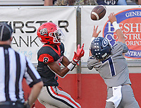 Greenwood's Colin Daggett (7) breaks up a pass intended for Fort Smith Northside Damari Smith (8) on Friday, Sept. 10, 2021 in Fort Smith. (Special to NWA Democrat Gazette/Brian Sanderford)