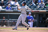 New Orleans Zephyrs Adrian Nieto (17) swings during the game against the Iowa Cubs  at Principal Park on April 13, 2016 in Des Moines, Iowa.  The Cubs won 9-5 .  (Dennis Hubbard/Four Seam Images)