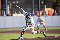 Michigan Wolverines pitcher Will Proctor (17) delivers a pitch to the plate against the Michigan State Spartans on March 21, 2021 in NCAA baseball action at Ray Fisher Stadium in Ann Arbor, Michigan. Michigan scored 8 runs in the bottom of the ninth inning to defeat the Spartans 8-7. (Andrew Woolley/Four Seam Images)