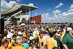 Baylor fans pack the new Baylor Stadium before the game between the Southern Methodist Mustangs and the Baylor Bears at the McLane Stadium in Waco, Texas.