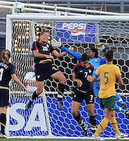 Briana Scurry and Abby Wambach save a late attempt by Australia to go ahead during international friendly match between the US Womens National Team and Australia at Legion Field in Birmingham, Alabama.  USA beats Australia in the 94th minute 5 to 4.