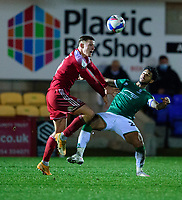 Accrington Stanley's Colby Bishop battles with Lincoln City's Liam Bridcutt<br /> <br /> Photographer Andrew Vaughan/CameraSport<br /> <br /> The EFL Sky Bet League One - Accrington Stanley v Lincoln City - Saturday 21st November 2020 - Crown Ground - Accrington<br /> <br /> World Copyright © 2020 CameraSport. All rights reserved. 43 Linden Ave. Countesthorpe. Leicester. England. LE8 5PG - Tel: +44 (0) 116 277 4147 - admin@camerasport.com - www.camerasport.com