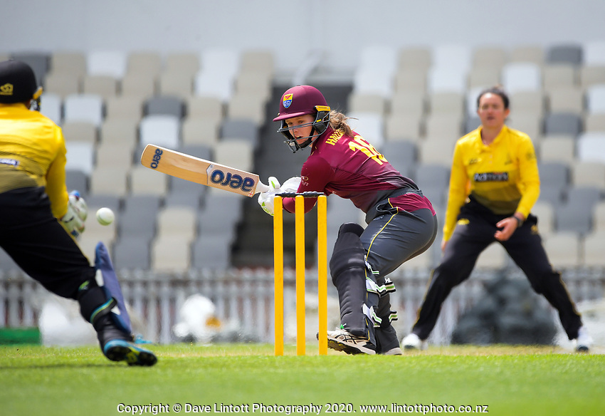 Northern's Brooke Halliday bats during the women's Hallyburton Johnstone Shield one-day cricket match between the Wellington Blaze and Northern Districts at the Basin Reserve in Wellington, New Zealand on Sunday, 22 November 2020. Photo: Dave Lintott / lintottphoto.co.nz