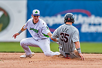 21 July 2019: Vermont Lake Monsters infielder Logan Davidson is unable to get a sliding Korey Lee out stealing second during a game against the Tri-City ValleyCats at Centennial Field in Burlington, Vermont. The Lake Monsters rallied to defeat the ValleyCats 6-3 in NY Penn League play. Mandatory Credit: Ed Wolfstein Photo *** RAW (NEF) Image File Available ***